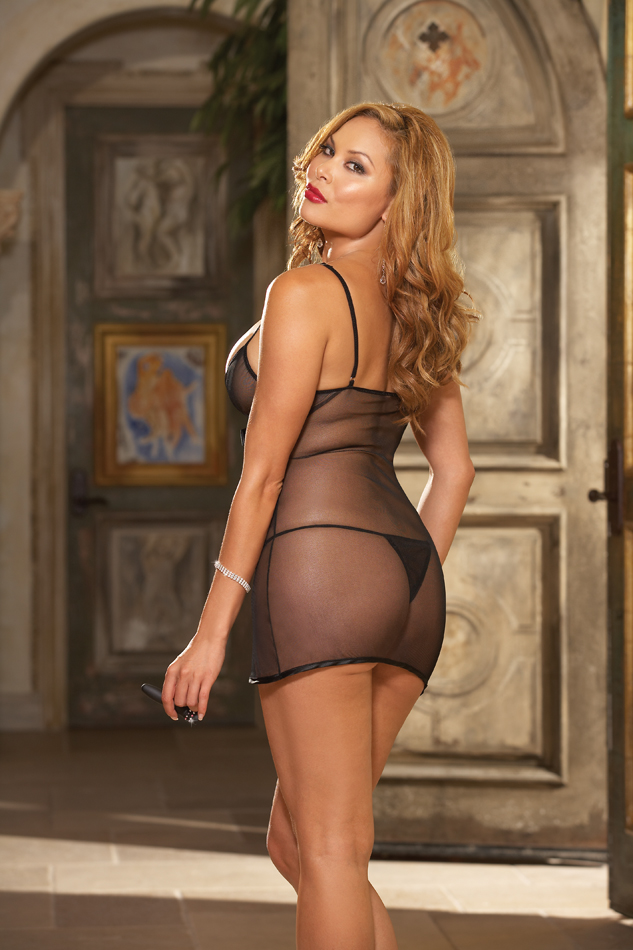 BABYDOLL THONG & TOY BLACK O/S QUEEN