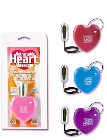 Vibrating Retractable Heart Massager - Pink