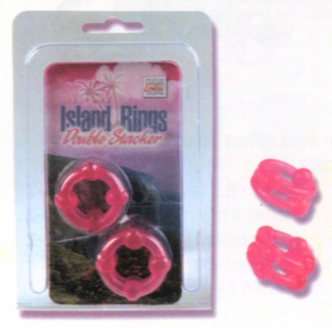 Silicone Island Double Stacker Rings -Pink