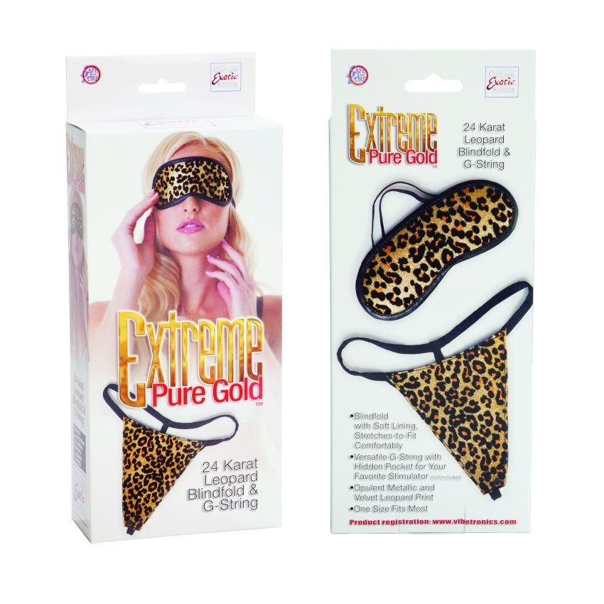 LEOPARD & BLINDFOLD G STRING GOLD