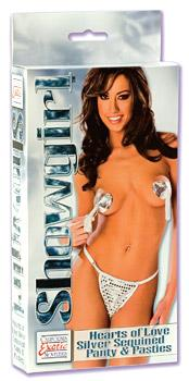 SHOWGIRL HEARTS OF LOVE PANTY&PASTIES SILVER